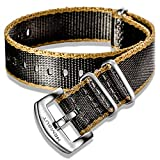 Hemsut NATO Strap, Seat Belt Watch Strap for Men, High End Soft Quality Nylon Watch Bands with Heavy Duty Brushed Buckle of 22mm