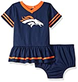 NFL Denver Broncos Team Jersey Dress and Diaper Cover, blue/orange Denver Broncos, 0-3 Months