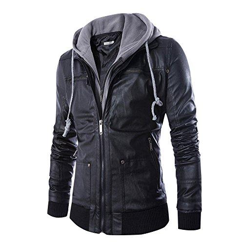 Dora Bridal Men's Faux Leather Jacket Hooded Casual Moto Jacket Hoodies Zip Up Waterproof Coats Outwear