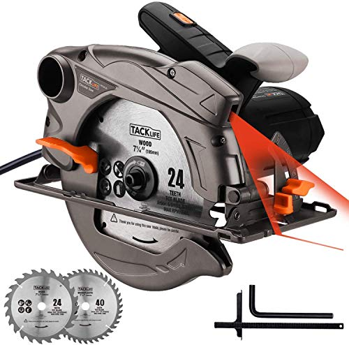 TACKLIFE 7-1/4' Classic Circular Saw with Laser, 2 Blades(24T&40T), 12.5 Amp 4700 RPM Corded Saw with Lightweight Aluminum Guard, Max Cutting Depth 2-1/2''(90°), 1-4/5''(45°) - PES01A
