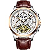 Semdu Mens Watches,Mens Automatic Skeleton Watches for Men,Genuine Leather Strap,MoonPhase,Dual Time, 5ATM Waterproof Mechanical Wrist Watches Gifts for Men