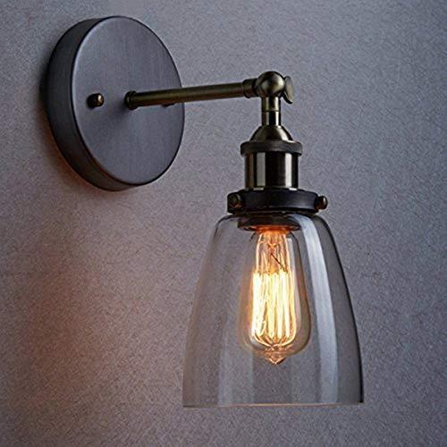 Lightsjoy Glas Wandleuchte Industrie Vintage Wandlampe E27 verstellbar Retro Industrial Loft Leuchten Glasschirm Deckenlampe für Wohnzimmer Schlafzimmer Küche Esszimmer Flur Treppenhaus Bar Hotel usw.