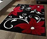Think Rugs Verona OC15Negro/Rojo–60x 225cm Hecho de 100% Polipropileno Machinecm Hecho Floral Calor Juego Hilo Alfombra