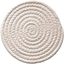 Chinashow Set of 4 Cotton Woven Round Placemats 8-Inch Durable Heat Resistant Placemats Beige