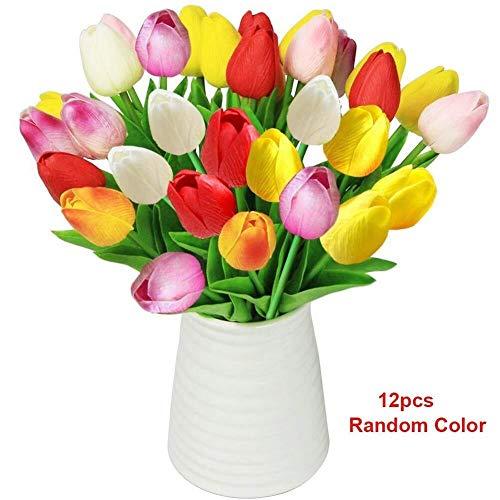 Casa della Decorazione del Fiore Tulipani artificiali Fiori con vaso in ceramica Tulipani finti Bouquet da sposa Tocco reale Disposizione dei fiori for la tavola di casa Decorazione dell'ufficio di no