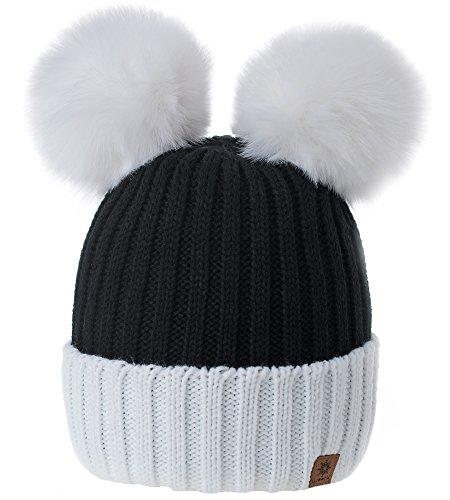 MFAZ Morefaz Ltd Damen Winter Beanie Strickmütze Mütze Doppelt Bommel Pom Pom Wurm SKI Mütze (White Black)