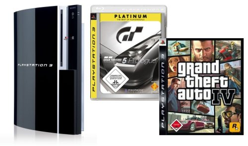 PlayStation 3 - Konsole 80 GB inkl. Dual Shock 3 Wireless Controller + Grand Theft Auto IV + Gran Turismo 5 Prologue