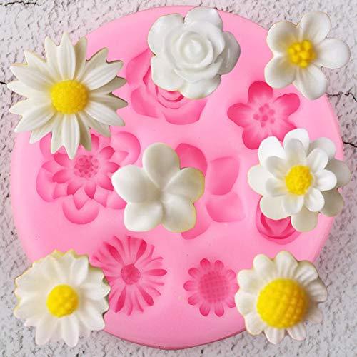 UNIYA Moldes de Silicona de Flores Plumeria Rose Daisy Chocolate Candy Clay Mold DIY Baking Party Cupcake Topper Fondant Cake Decorating Tool