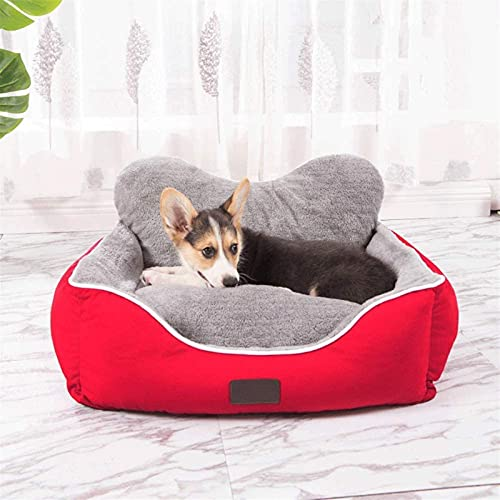 IUYJVR Cama para mascotas PECUTE Cama para perro – lavable, higiénica y antideslizante, cálida cama de felpa para perro, lujoso saco de dormir para mascotas, azul [dentro de 5 kg] (Color: rojo)