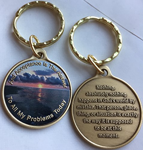 Acceptance is The Answer Beach Sunrise Color Bronze Keychain AA Page 449 417