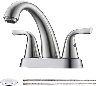Modern 2 Handle 4 Inch Lead-free Centerset Brushed Nickel Bathroom Faucet, Stainless Steel RV Lavatory Vanity Sink Faucets...