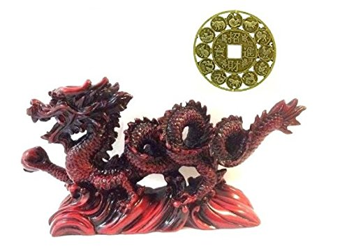 Feng Shui New RED Chinese Dragon Figurine Statue for...
