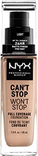 NYX PROFESSIONAL MAKEUP Can't Stop Won't Stop Full Coverage Foundation - Light, With Neutral Undertone