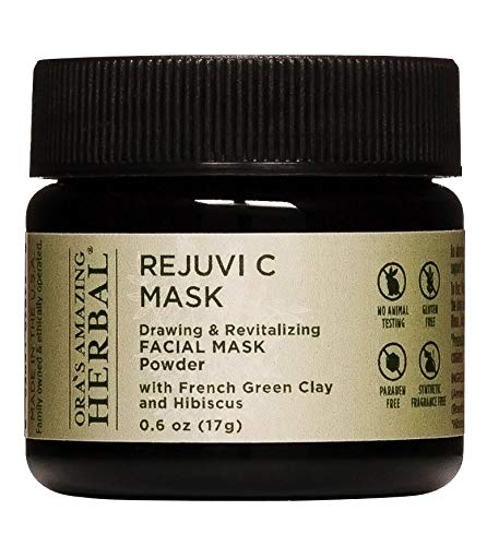 Rejuvi C Mask, Face Mask Powder, Hibiscus and Rose Hips Seed Face Mask with Organic French Green Clay, French Green Clay Mask, Face Mask Powder, Travel Trial Size, Ora