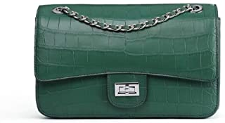 Luxurious Lady Classic European American Banquet Leather Chain Shoulder Bag Messenger Bag Woman Girl Birthday 25 * 9 * 16cm (Color : Green)
