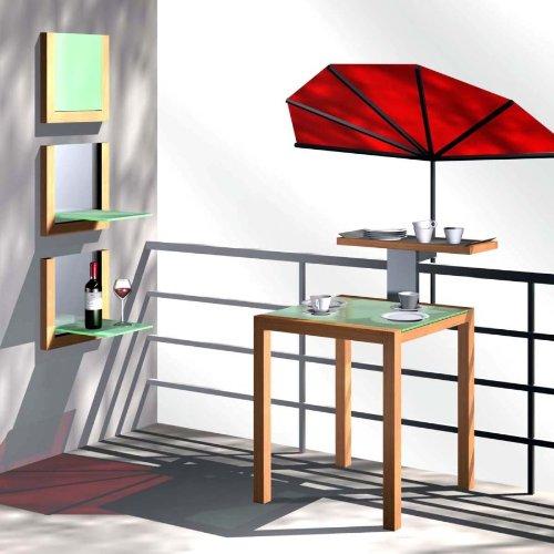 Fächer Balkonschirm für Geländer rund oder eckig mit einem Ø bis 55 - 60 mm - Balkon Fächerschirm - STABIELO - Modell EXKLUSIV Holly'sun® - Bezug ZANGENBERG - BORDEAUX ROT- 140 x 70 cm mit Holly® 360 ° MULTI - halterung ® GVC (35 EUR) mit Gummischutzkappen - INNOVATIONEN MADE in GERMANY - HOLLY PRODUKTE STABIELO ® - holly sunshade -