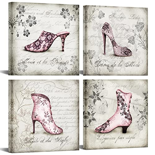 Innopics 4 Piece Pink Women High Heel Shoes Canvas Wall Art Fashion Floral Giclee Print Artwork Black and White Retro Painting Girls Bedroom Vintage Decor Framed for Home Living Room Salon Decoration (Pink White High Heel)