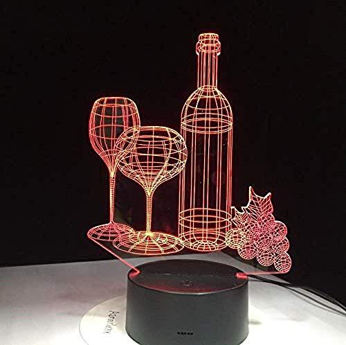 3D Led Night Light Wine Cup Bottle Lámpara De Mesa 7 Coloridos Amigos Birhtday Regalos Sleep Lighting Dormitorio Mesita De Noche Lámparas Decornight Para Niños Closet Cabinet