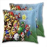 anzonto Juego de 2 fundas de almohada Mario Kart Princess Peach Yoshi Wario...