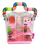 5 Floor Large Twin Tower Syrian Hamster Rodent Gerbil Mouse Mice Rat Cage with Crossing Tube Tunnel (Pink, with Crossing Tube)