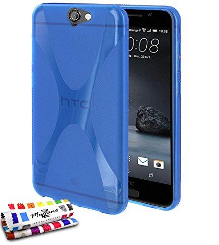 MUZZANO weiche Schutzhülle schmal HTC One A9[Le X Premium] [blau] Eingabestift und Reinigungstuch angeboten–Der Schutz stoßfest ultimative, Elegante und nachhaltige für Ihr HTC One A9