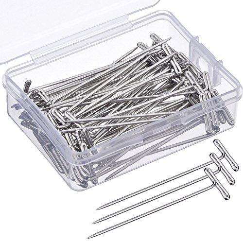 70 Piezas T-Pins Alfileres en T de Peluca 2 Pulgadas con Caja de Plástico, Plateado