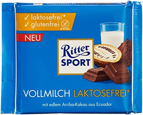 RITTER SPORT Vollmilch laktosefrei (6 x 100 g), Vollmilchschokolade, laktosefrei und glutenfrei, mit edlem Arriba-Kakao für echten Geschmack