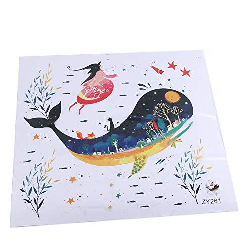 Generic Ifdayy Kreative Wandaufkleber Unterwasserwelt Walschildkröte Badezimmer Toilettenaufkleber Schlafzimmer Wohnzimmer Badezimmer Dekor Wandbild Poster