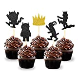 Levfla Black and Gold Glitter Where The Wild Things are Inspired Cupcake Toppers Wild One Birthday Party Decorations Pack of 25