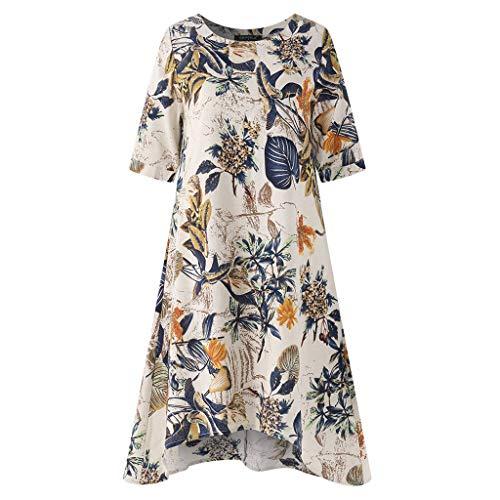 Tooth Damen Plus Size Leinenkleid Sommer Sale Womens Casual Oansatz Ethnic Style Floral Printed Kurzarm Vintage Dress Kleider Sommerkleid Strandkleider(Gelb,M)