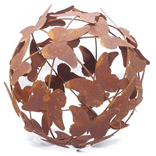 Exner Gartenkugel Kugel 'Schmetterling' Dekokugel aus Metall Rost - Edelrost - im Landhaus-Design 24x24 cm