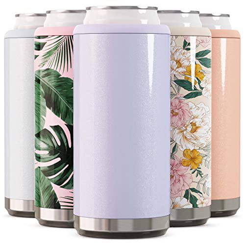 Maars Skinny Can Cooler for Slim Beer & Hard Seltzer | Stainless Steel 12oz Sleeve, Double Wall Vacuum Insulated Drink Holder - Glitter Lilac