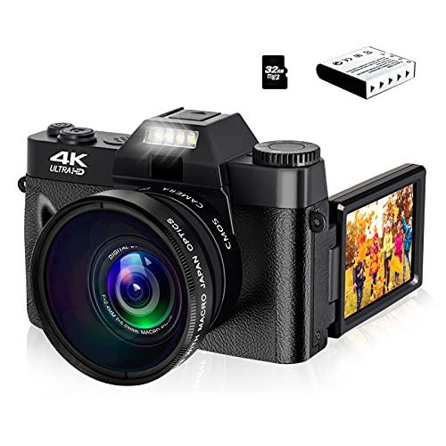 KIDSCAM 4K Digital Camera Vlogging Camera 48MP Full HD Video Camera with WiFi, Flip Screen Camera with 16X Digital Zoom and 3.0 Inch Flip Screen, Vlog Camera for YouTube (32GB Micro Card)