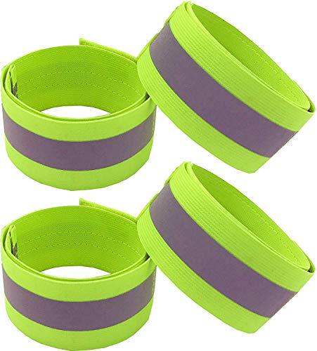 PREMYO 4er Set Reflektorband Reflektoren für Kleidung - Für Kinder Joggen Kinderwagen - Elastisch mit Klettverschluss