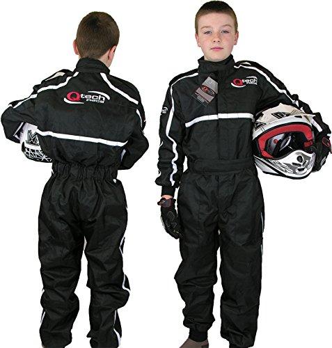 Qtech - Kinder Rennanzug für Gokart/Motocross/Dirt Bike - Schwarz - XS