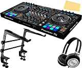 Pioneer DDJ-RZ Flagship 4-Channel Controller for Rekordbox DJ Bundle with Stand, Headphones, and Austin Bazaar Polishing Cloth