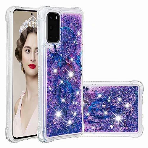 Funda para Samsung Galaxy A72 5G, diseño de arena movediza, con purpurina y líquido brillante, transparente, de gel de silicona a prueba de golpes, para niñas y mujeres, para Samsung Galaxy A72 5G red