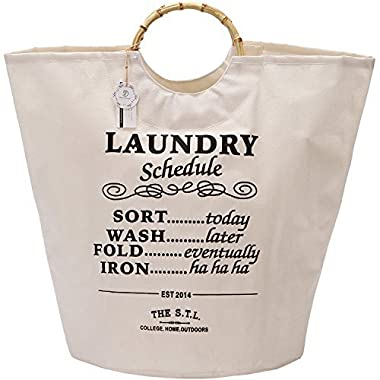 Sea Team Laundry Hamper, 18 by 15 inch Collapsible Linen Canvas Fabric Laundry Tote Bag Basket with Bamboo Handles, Waterproof Coating, White