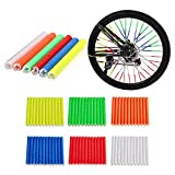 ZHCCCJBOY Bicycle Wheel Spoke Reflector Bicycle Spoke Skins Wraps Bike Spoke Reflector 6 Sets/72pcs Cycling Safety Items Easy to Install BMX MTB Kids Road Mountain Bike Colorful Wheel Decoration