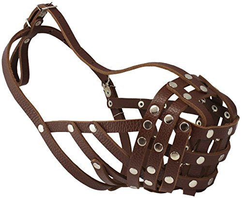 Secure Leather Mesh Basket Dog Muzzle #14 Brown - Boxer, English Bulldog (Circumference 13', Snout Length 3')
