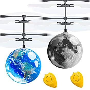 AMENON 2 Pack Flying Ball Kids Toys Light Up Toy Mini Drone Earth Moon RC Flying Toy Hand or Remote Control Helicopter Infrared Induction Holiday Birthday Gifts Toy for Boys Girls Outdoor Play