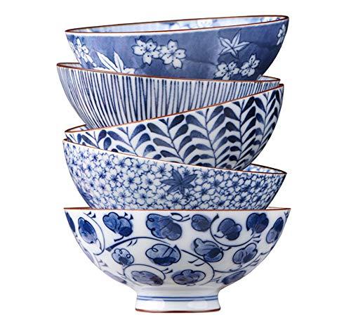 PLDDY Keramik Schüssel Haushalt Japanisch-Stil Müslischüssel Nudel Schüssel EIN Satz von 5 Geschenk (größe : 5.5 inches)