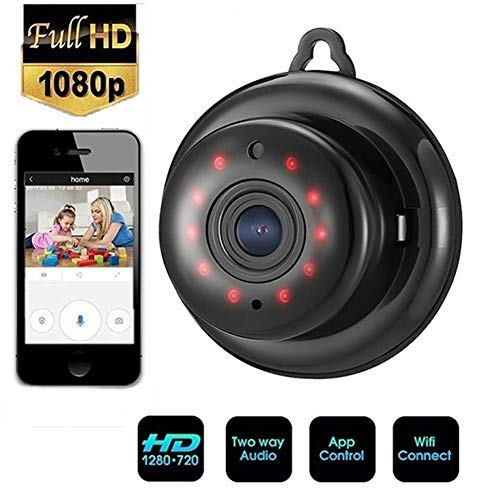 Mini Kamera 1080P Überwachungskamera Aussen/Innen Mikro Nanny Cam mit Bewegungsmelder Aussen und Infrarot Nachtsicht,Unterstützt Speicherkarte Micro SD 64 GB (Nicht Enthalten) (1080p)