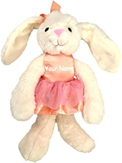 K Luxe Baby Personalized Cream Color Bunny in Pink Ballerina Dress with Rattle Sound and Crinkle Ears Plush Stuffed Animal Toy with Custom Name
