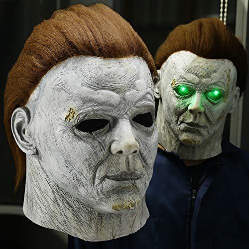 ホラーLEDハロウィーンキルズマスク怖いキラーフルフェイスラテックスヘルメットハロウィーンパーティーコスチューム小道具ホラーマスク 0622 (Color : No led mask)