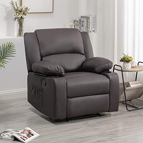 S&F Living Modern Padded Leather Recliner - Ergonomic Adjustable overstuffed Single Reclining Sofa Chair with Heavy Duty Back and overstuffed seat for Living Room,Home,Theater,Club and Lounge (Brown)