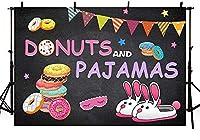 新しいドーナツとパジャマパーティーの装飾写真スタジオブースの背景バナーカラフルなドーナツパジャマの女の子の誕生日Sleepover星黒の背景写真撮影のための小道具250x180cm