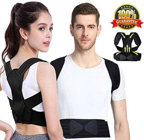 Viixm Posture Corrector for Men and Women, Adjustable Back Brace for Back Shoulder Support for Spinal Alignment and Posture Support, Breathable Material with Shoulder Pad and Support Plate