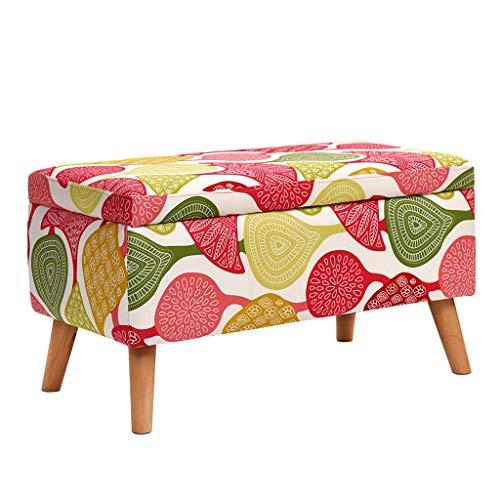 MMLI-Footstools Taburete de Almacenamiento de Madera para reposapiés con tapizado de Esponja Altamente elástica, Asiento Doble otomano máximo de 100 kg (40 x 40 x 42 cm)