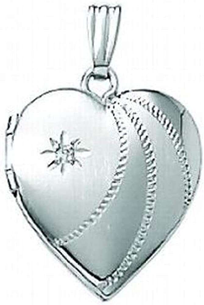 PicturesOnGold.com 14K White Gold Small Heart Locket 1/2 Inch X 1/2 Inch Solid 14K White Gold